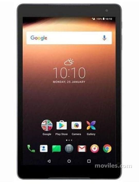 Fotografía grande Varias vistas del Tablet Alcatel A3 10 Negro. En la pantalla se muestra Varias vistas
