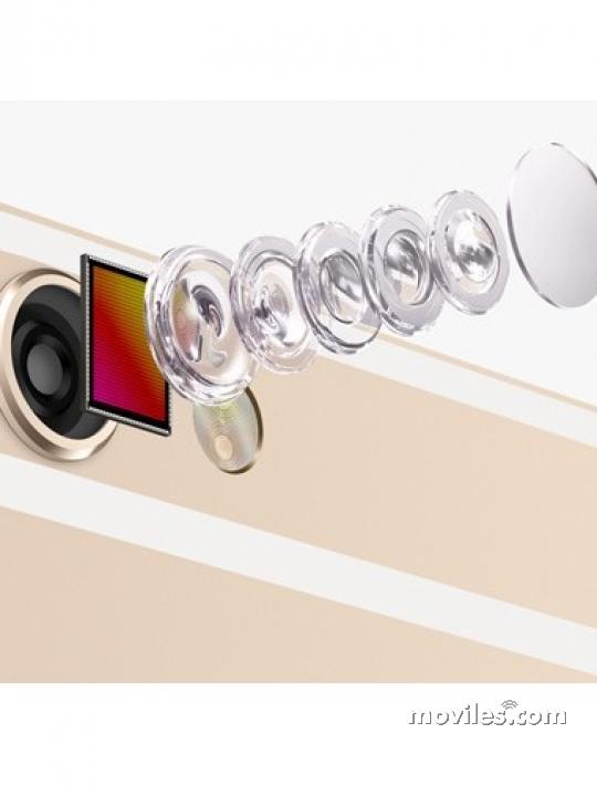 Detalle de las lentes de la cámara trasera del iPhone 6