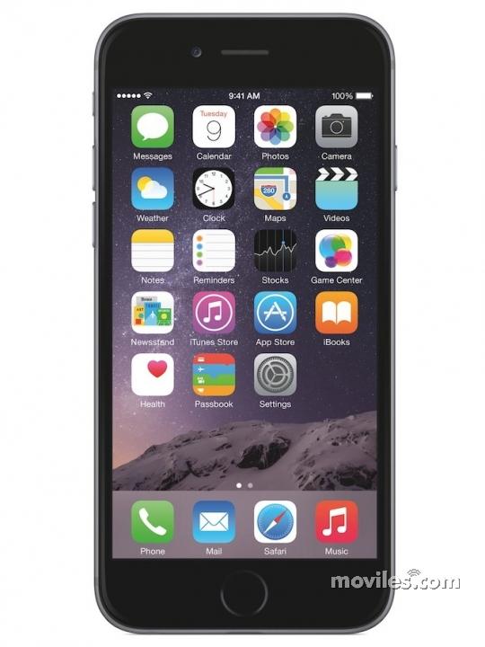 Fotografía grande Frontal del Apple iPhone 6 Gris Espacial. En la pantalla se muestra Pantalla de inicio