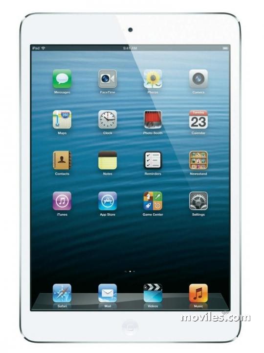Fotografía grande Frontal del Tablet Apple iPad Mini WiFi Blanco y Plata. En la pantalla se muestra Pantalla de inicio