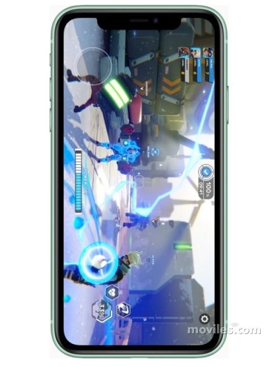 Fotografía grande Varias vistas del Apple iPhone 11 Amarillo y Blanco y Negro y Púrpura y Rojo y Verde. En la pantalla se muestra Varias vistas