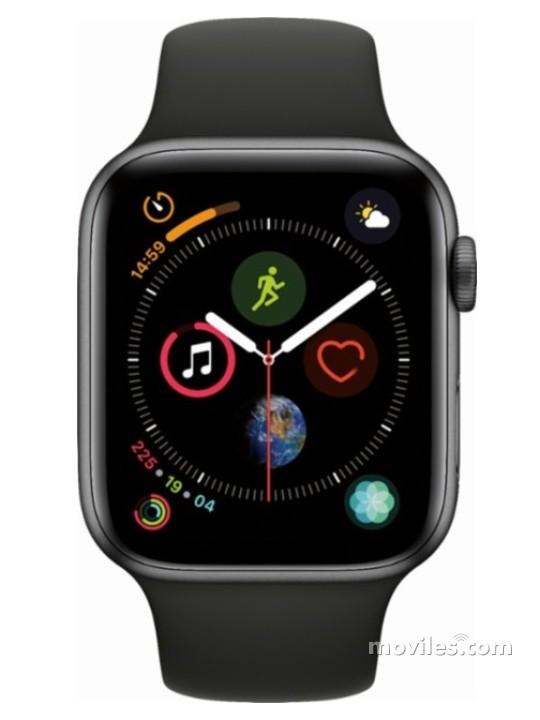 Fotografía grande Varias vistas del Apple Watch Series 4 44mm Plata y Blanco y Gris Espacial y Dorado y Negro. En la pantalla se muestra Varias vistas