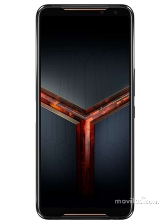 Fotografía grande Varias vistas del Asus ROG Phone II Negro. En la pantalla se muestra Varias vistas
