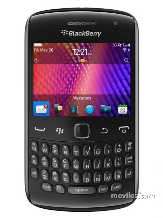 Fotografía grande Frontal del BlackBerry Curve 9360 Negro. En la pantalla se muestra Pantalla de inicio