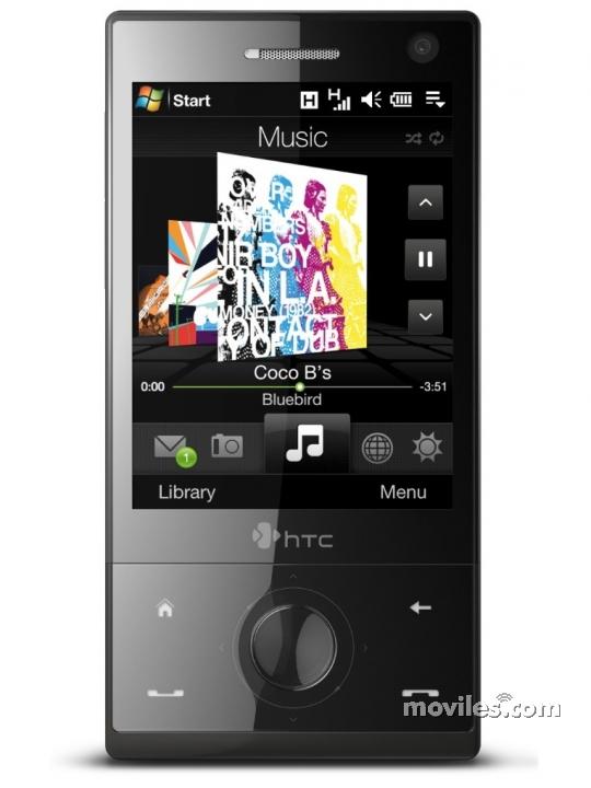 Fotografía grande Frontal del HTC Diamond Negro. En la pantalla se muestra Reproductor de música