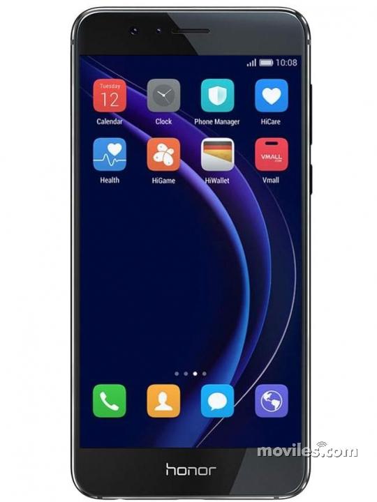 Fotografía grande Varias vistas del Huawei Honor 8 Azul y Blanco perla y Dorado y Negro y Rosa. En la pantalla se muestra Varias vistas