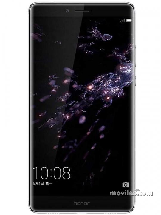 Fotografía grande Varias vistas del Huawei Honor Note 8 Blanco y Dorado y Gris. En la pantalla se muestra Varias vistas