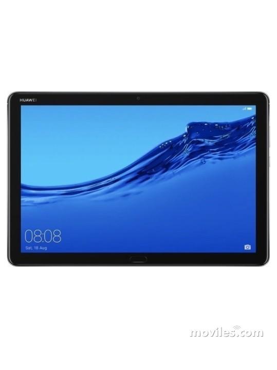 Fotografía grande Varias vistas del Tablet Huawei MediaPad M5 Lite 10 Gris Espacial y Dorado. En la pantalla se muestra Varias vistas