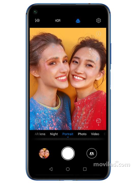 Fotografía grande Varias vistas del Huawei nova 5T Azul y Negro y Púrpura. En la pantalla se muestra Varias vistas