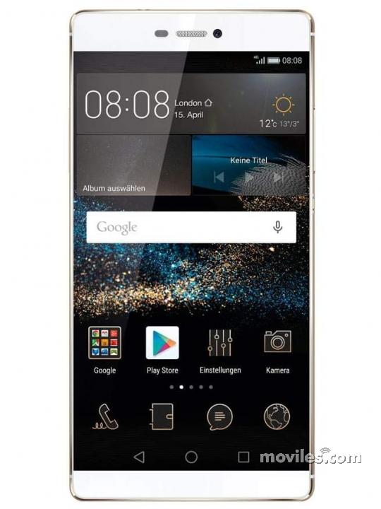 Fotografía grande Varias vistas del Huawei P9 Lite Dorado y Plata. En la pantalla se muestra Varias vistas