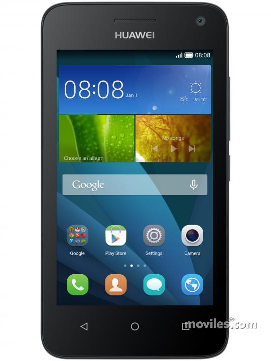 Fotografía grande Varias vistas del Huawei Y360 Blanco y Negro. En la pantalla se muestra Varias vistas