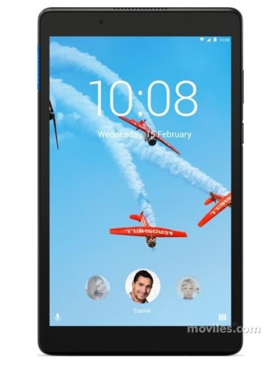 Fotografía grande Varias vistas del Tablet Lenovo Tab 8 Negro. En la pantalla se muestra Varias vistas