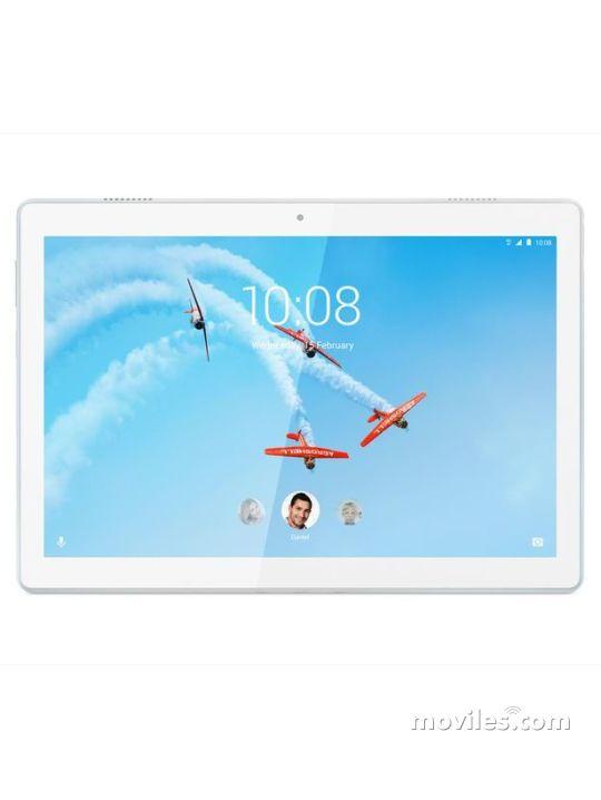 Fotografía grande Varias vistas del Tablet Lenovo Tab M10 Blanco y Negro. En la pantalla se muestra Varias vistas