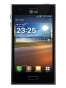 Fotografía Frontal del LG Optimus L5 Negro. En la pantalla se muestra Reloj