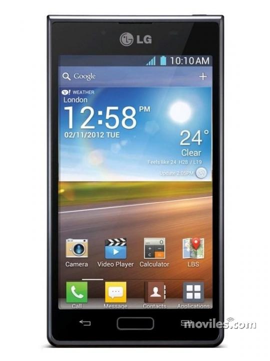 Fotografía grande Frontal del LG Optimus L7 Negro. En la pantalla se muestra Reloj