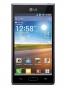 Fotografía Frontal del LG Optimus L7 Negro. En la pantalla se muestra Reloj