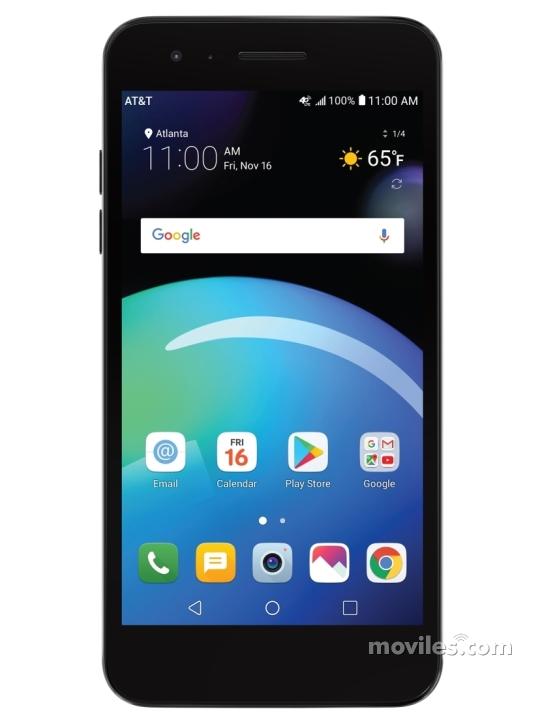 Fotografía grande Varias vistas del LG Phoenix 4 Negro. En la pantalla se muestra Varias vistas
