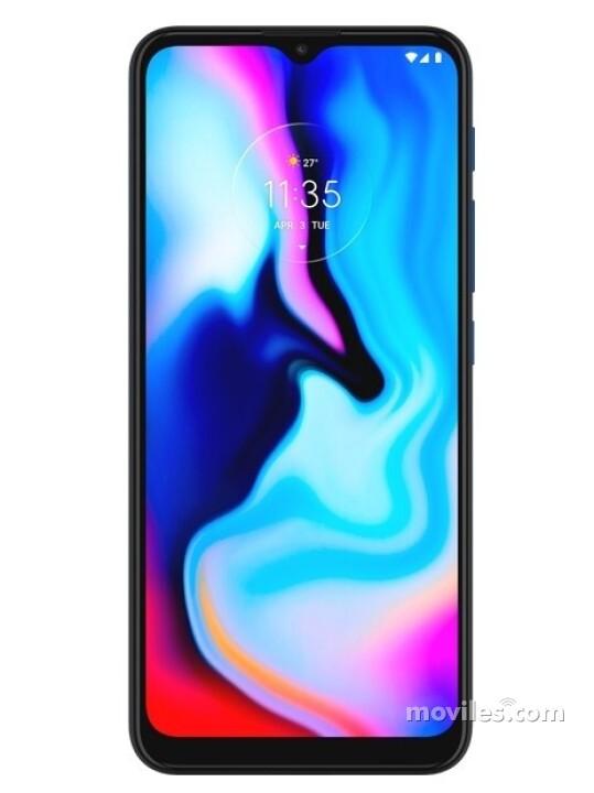 Fotografía grande Varias vistas del Motorola Moto E7 Plus Azul y Bronce. En la pantalla se muestra Varias vistas
