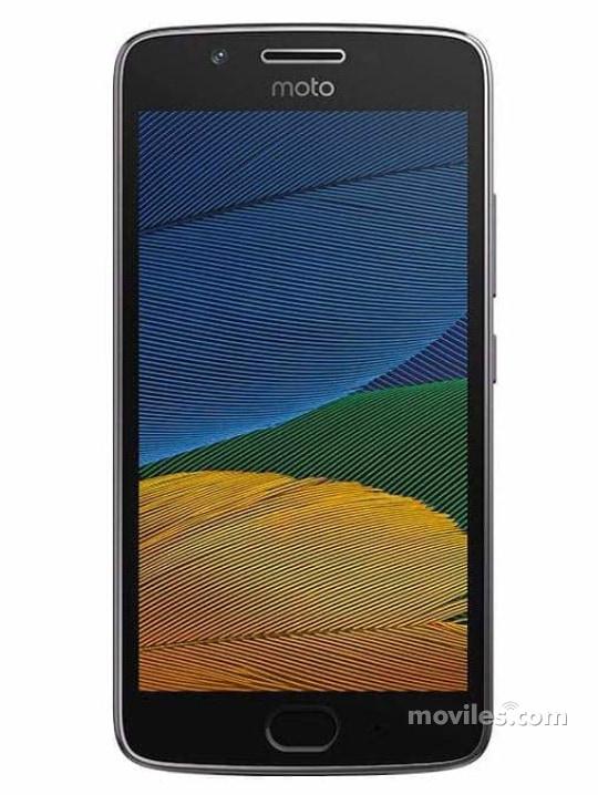 Fotografía grande Varias vistas del Motorola Moto G5 Gris y Dorado. En la pantalla se muestra Varias vistas