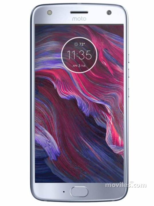 Fotografía grande Varias vistas del Motorola Moto X4 Azul y Negro. En la pantalla se muestra Varias vistas