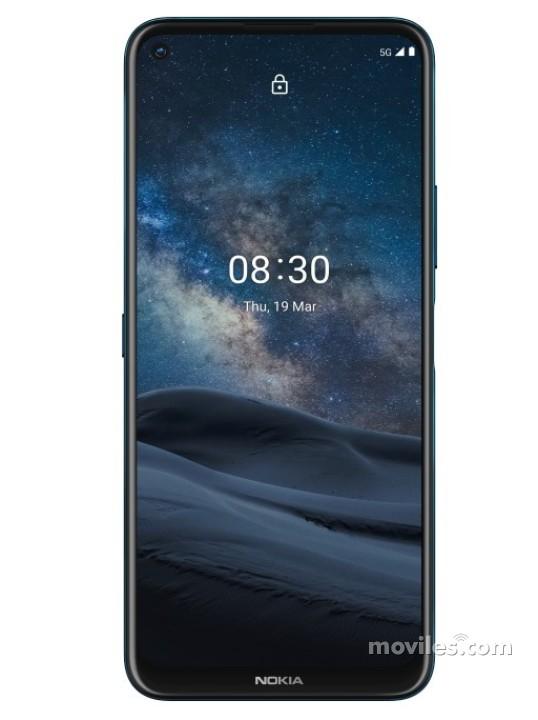Fotografía grande Varias vistas del Nokia 8.3 5G Verde oscuro. En la pantalla se muestra Varias vistas