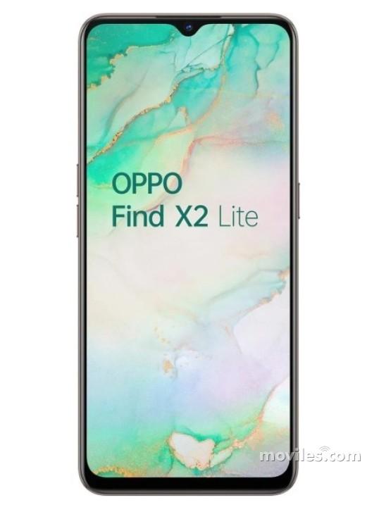 Fotografía grande Varias vistas del Oppo Find X2 Lite Blanco perla y Negro. En la pantalla se muestra Varias vistas