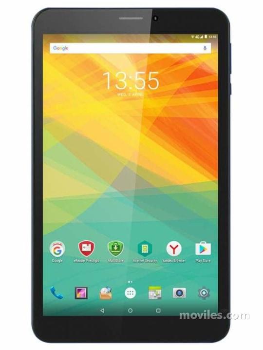 Fotografía grande Varias vistas del Tablet Prestigio MultiPad Wize 3618 4G Azul. En la pantalla se muestra Varias vistas