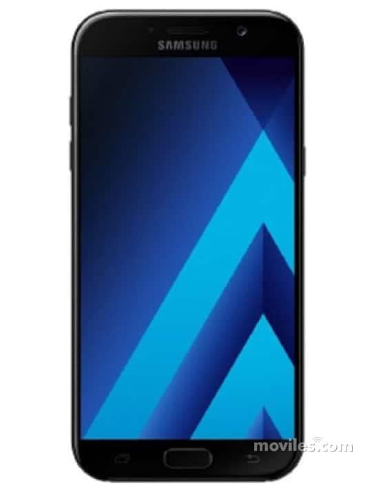 Fotografía grande Varias vistas del Samsung Galaxy A3 (2017) Azul y Dorado y Negro. En la pantalla se muestra Varias vistas