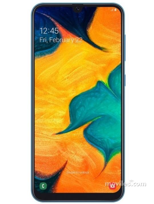 Fotografía grande Varias vistas del Samsung Galaxy A30 Azul y Blanco y Negro. En la pantalla se muestra Varias vistas