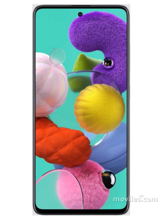 Fotografía grande Varias vistas del Samsung Galaxy A51 Negro. En la pantalla se muestra Varias vistas