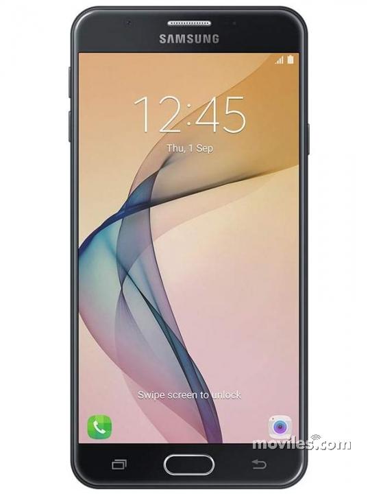 Fotografía grande Varias vistas del Samsung Galaxy J7 Prime Dorado y Negro. En la pantalla se muestra Varias vistas