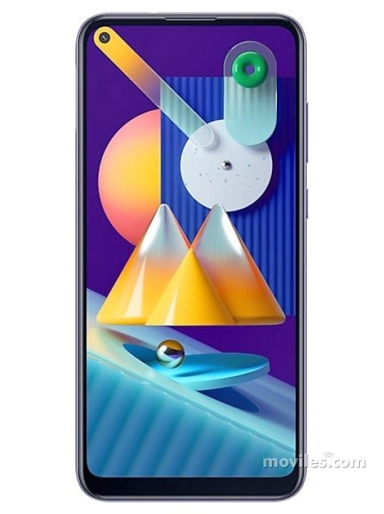 Fotografías Varias vistas de Samsung Galaxy M11 Azul metalizado y Negro y Violeta. Detalle de la pantalla: Varias vistas