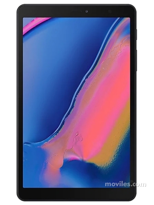 Fotografía grande Varias vistas del Tablet Samsung Galaxy Tab A 8 (2019) Gris y Negro. En la pantalla se muestra Varias vistas