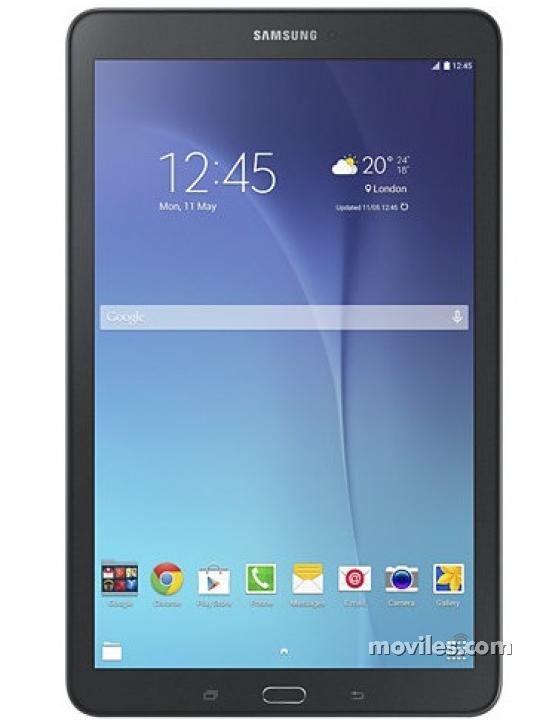 Fotografía grande Varias vistas del Tablet Samsung Galaxy Tab E 9.6 Blanco perla y Negro metalizado. En la pantalla se muestra Varias vistas