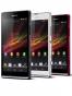 Fotografía Varias vistas del Sony Xperia SP Blanco y Negro y Rojo. En la pantalla se muestra Varias vistas