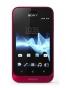 Fotografía Frontal del Sony Xperia Tipo Rojo. En la pantalla se muestra Reloj