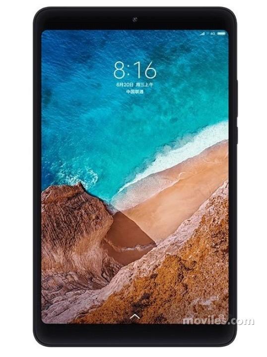 Fotografía grande Varias vistas del Tablet Xiaomi Mi Pad 4 Negro y Rosa. En la pantalla se muestra Varias vistas