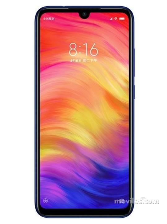 Fotografía grande Varias vistas del Xiaomi Redmi Note 7 Azul y Dorado y Negro. En la pantalla se muestra Varias vistas